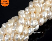 Royal Symphony Pearl Gemstone Pebble Button 10X8MM Loose Beads 15 inch Full Strand (90164511-70)