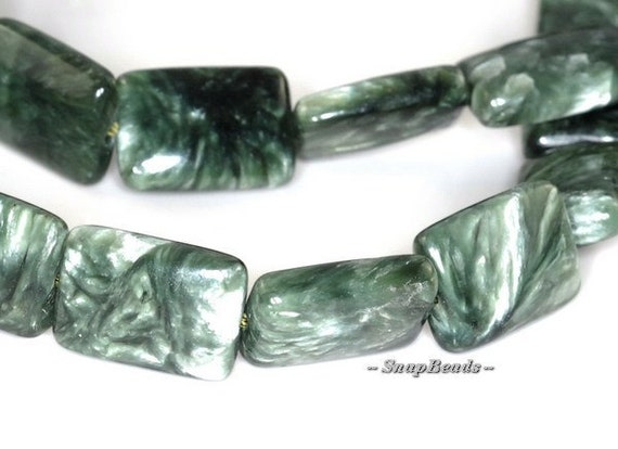 Russian Siberian Seraphinite Gemstone Cushion Rectangle 14X10MM Loose Beads 7.5 inch Half Strand (90119802-112)
