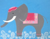 24x30 - Elephant nursery painting, Vienna Elephant bedding