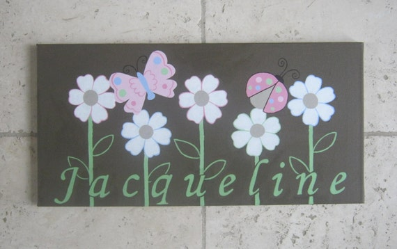 Ladybug, butterfly, flower painting for nursery to match Nojo Ladybug Lullaby