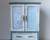 Painted  French Blue /Off  White Vintage Jewelry Box