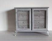 Large Beautiful Paris Grey French Style Jewelry Box Music Box