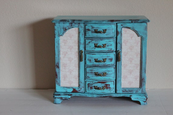 Beautiful Large Distressed Turqouise French Style Jewelry Box