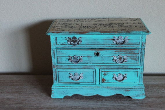 Painted Distressed Aqua Blue Vintage Jewelry Box Music Box