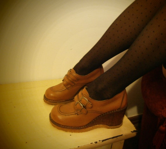 Original 70's Platforms / Wedges 7.5/UK4/37.5 Brown Honey Buckles Boho Schoolgirl Shoes Retro