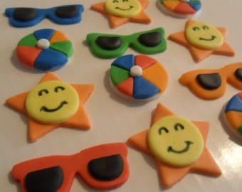 Fondant Summer Fun Cupcake Toppers