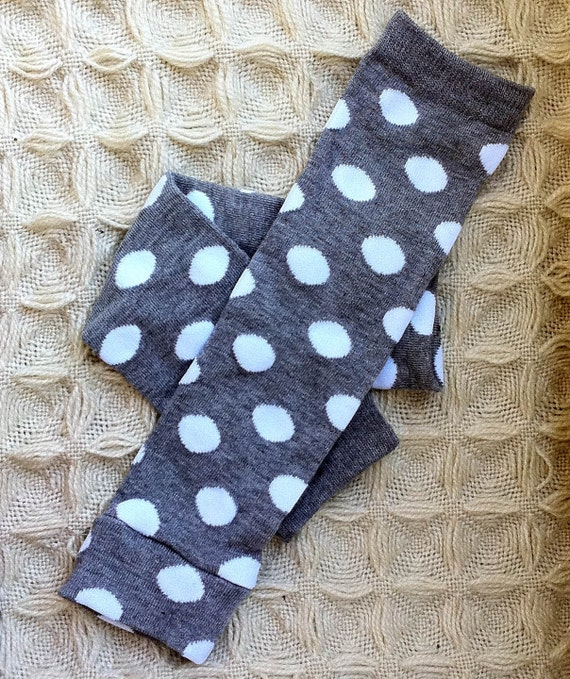 Baby Girl Leg Warmers in Gray with large White Polka Dots