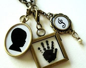 Child's Custom Silhouette Oval Pendant, Handprint & Monogramwith Birthstone Dangle