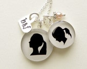 Mother and Daughter or Best Friends Sterling Silver Necklace with 2 Silhouette Pendants, Stamped Heart Charm and Dangle