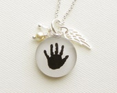 Mother's Day Baby Handprint Memory Necklace with Sterling Wing Charm and Pearl & Crystal Dangles for Mother