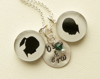 Two Medium Custom Child Silhouette Pendant Necklace with Stamped Initial Tag & Birthstone Dangle for Mother or Grandmother