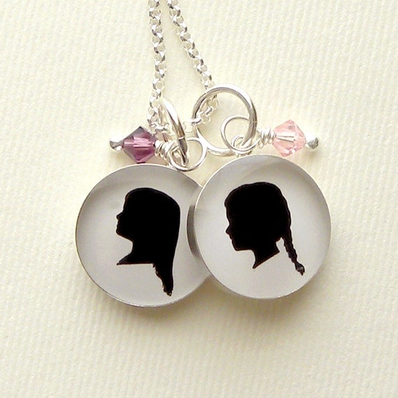 2 Medium Sterling Custom Silhouette Pendant Necklace for Mother or Grandmother with Birthstones