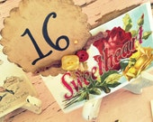 Table Numbers Vintage Postcard with stand red and yellow custom