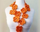 Crochet Flower Scarf - ORANGE - hand crocheted - lariat - Spring / Summer necklace scarf