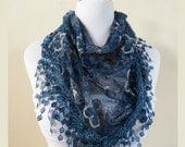 Womens scarf PETROL BLUE with floral embroidery and rich lace edge - scarflette shawl neckwarmer - Spring / Summer
