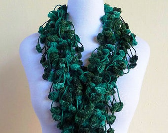 Mulberry Scarf - GREEN FUSION - pom pom scarf - long chunky lariat cocoon - Spring accessories