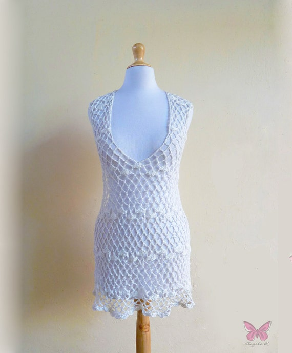 SUMMER DRESS - Hand crocheted - Open-necked - White
