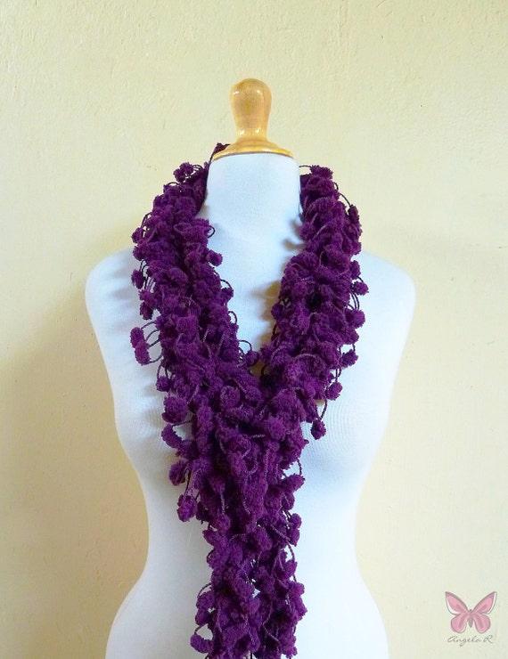 DARK VIOLET pom pom scarf - chunky lariat - mulberry Spring accessories