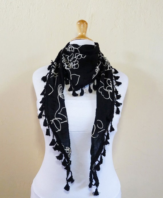 Scarf - Black with floral embroidery  - scarflette cowl neckwarmer - Spring / Summer