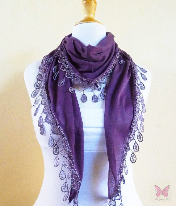 Cotton Scarf - ANTIQUE MEDIUM PURPLE with teardrop lace edge - scarflette cowl neckwarmer - Spring / Summer