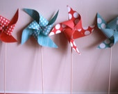 12 Whimsical Red and Teal Polka Dot and Stripe Pinwheels