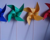 12 Large  Primary Color Pinwheels