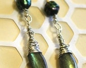 Leaves of Grass -  labradorite faceted pearl earrings, bright sterling