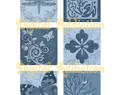 DENIM BLUE CLASSICS...Dragonfly, Tree, Butterfly.. 1 Inch Squares for your Jewelry, Glass Tiles, Stickers, Pendants, Tags, Magnets