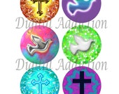 DOVES AND CROSSES Collage Sheet... 1 Inch Circles for your Jewelry, Glass Tiles, Pendants, Tags, Cards, Magnets, Stickers, Wood Discs