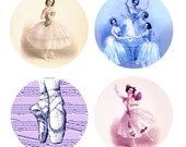 BALLERINA BEAUTY... From Antique Paintings and Music... 1 Inch Circles for your Jewelry, Glass Tiles, Stickers, Pendants, Tags, Magnets