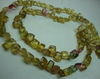 Rarest lemon tourmaline Yellow Tourmaline Faceted Rectangular Briolettes Handmade 15 Inches Size 3x5mm to 7x5mm at Factory Prices ONE STRAND