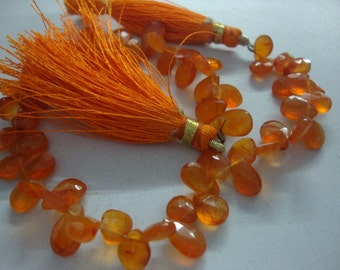 Carnelian Faceted pear briolettes Length 7.5 Inches Size 7x5mm to 8x5mm at factory prices