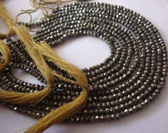 Pyrite Beads Rondelles 5 strands Wholesale Handmade micro faceted 14 Inches each AAA Extra Fine Quality Size 2-4 mm