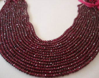 Rhodolite Garnet beads micro faceted wholesale lot 15 strands size 2-4mm lth 13 Inches each