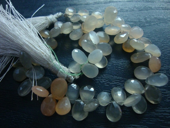 Moonstone faceted pear shape briolettes Length 8 Inches Size  7x3mm to 10x3mm AAA Quality at factory prices