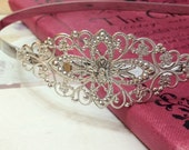 150 x 6 mm Antiqued Silver HeadBand With Filigree Flower Wrap