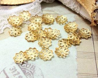 7 x 7 mm Golden Plated Filigree Bead End Cap (.am)