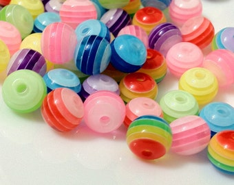 8 mm Mixed Color Round Rainbow Acrylic Beads (.mg)