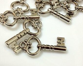10 Pieces of  26mm  Silver Tone Cute Acrylic Keys