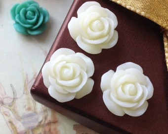 19 mm  White Color Rose Resin Flower Cabochons (.am)