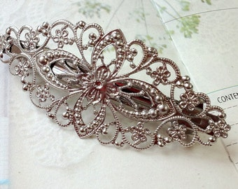 80 x 35 mm Handmade French Barrette Silver Plated Hair Clip (.gg)