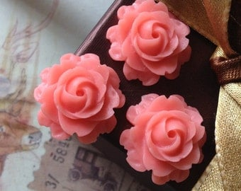 21 mm Pink Colour Cabbage Rose Resin Flower Cabochons (.nm)