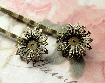 50 mm Handmade Antique Bronze Small Flower Setting Bobby Pins (.gm)