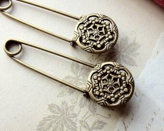 52 mm Antique Bronze Button Brooch Safety Pins (.un)