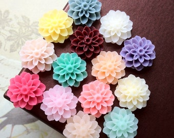 22 Pieces (11 Pairs) of 16 mm Resin Dahlia Flower Cabochons of Assorted Colour (.am)