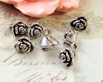 8 mm Tibetan Silver Rose Flower Charm Drop Pendant  (.tg)