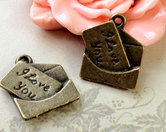 18 mm x 16 mm Antiqued Bronze Love Letter Charms (.sti)