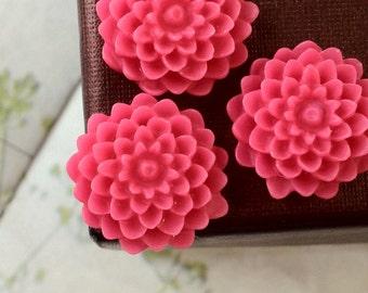 SPECIAL OFFER --- 15 mm Hot Pink Colour Morifolium Resin Flower (.sm)