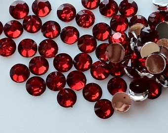 3 mm High Quality Siam Color 14 Faceted Cut Resin Rhinestone Diamond (.mmtu)