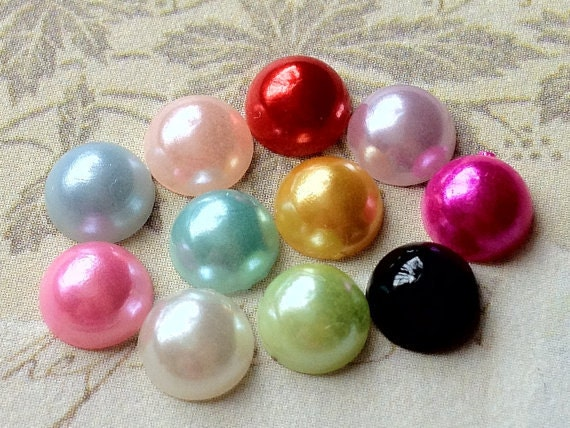 10 mm Mixed Color Pearlized Flat Back Pearl Cabochons (.mtt)